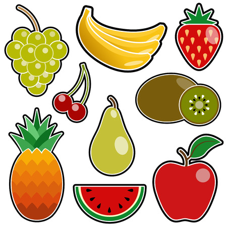 watermelon juice: fruit icon set