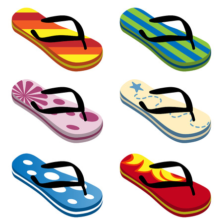 Beach Sandals Drawing Beach Sandals Set Vector