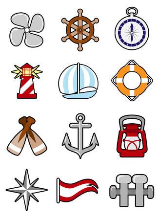 ruder: nautische Icon set  Illustration
