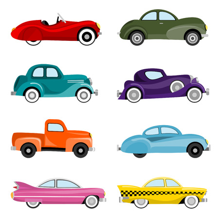 oude autos: oude auto's Stock Illustratie