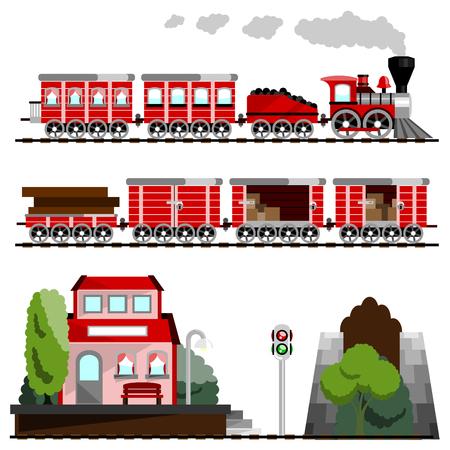 locomotora: tren gran conjunto  Vectores