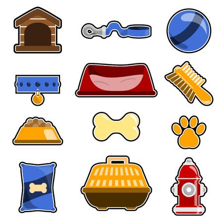 cushions: dog object icon set