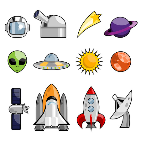 space icon set Stock Vector - 8129241