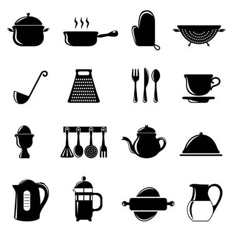 conjunto de objetos de cocina