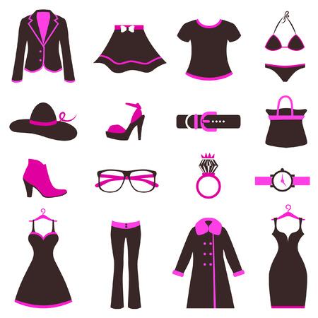 洋服: 女性のファッションのアイコン  イラスト・ベクター素材