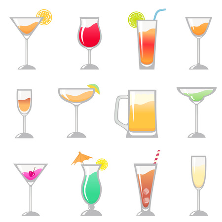 alcoholic beverage: alcohol drinks glasses set  Illustration