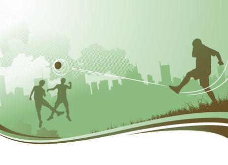 voetbal silhouet: mensen spelen voetbal