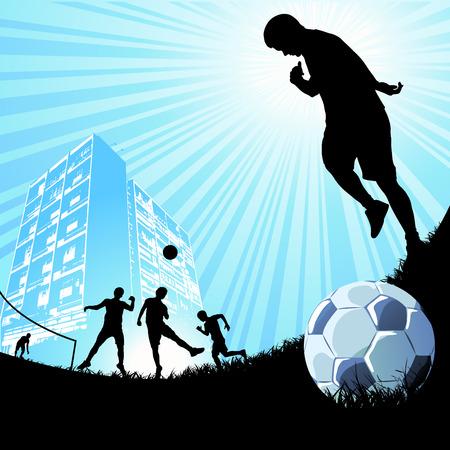 goal kick: people playing soccer  Illustration