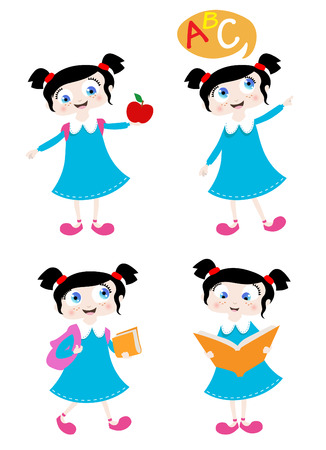 school girl with four different positions Stock Vector - 8352747