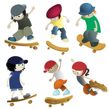 ni�o en patines: conjunto skateboarding Vectores