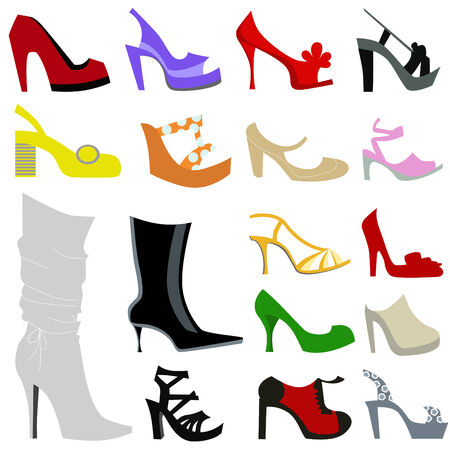 leather shoe: set of women shoes illustration  Illustration