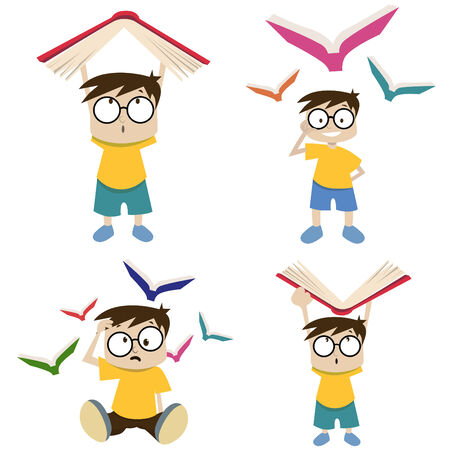 teacher at desk: cute students  Illustration