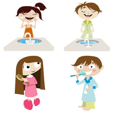 face wash: vector cartoon girl and boy  Illustration