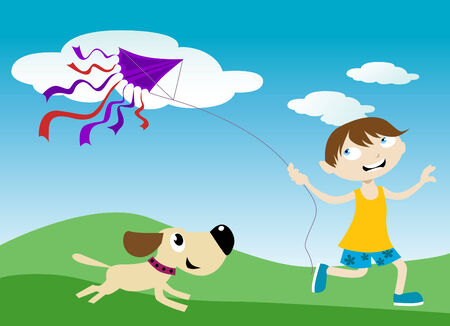children with kite  Vector