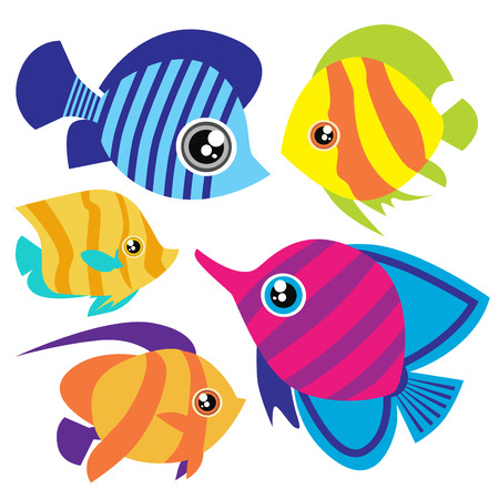 tropical fish: cartoon fish set  Illustration
