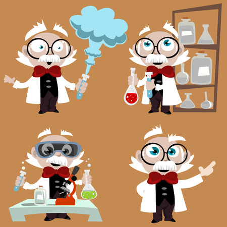 science lab: science professor set  Illustration