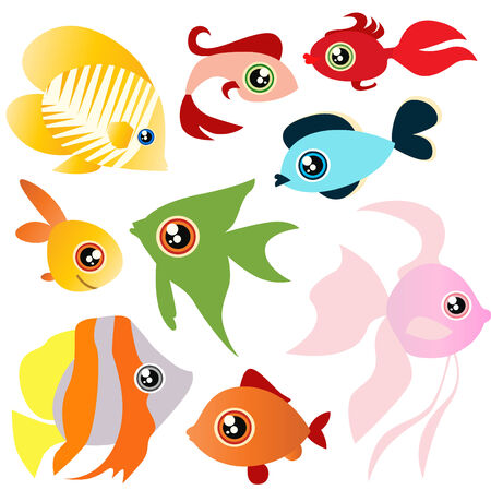 marine fish: tropical fish set  Illustration