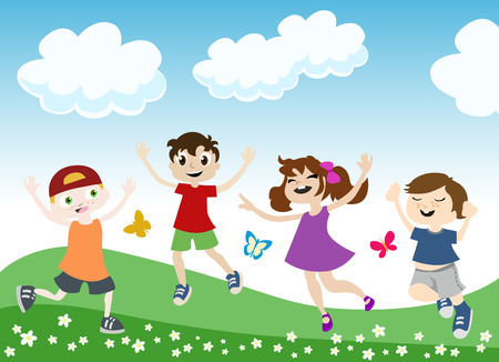 young girls nature: jumping children illustration