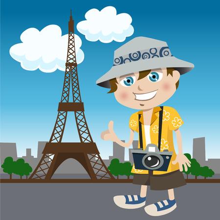 Macchina fotografica: ragazzo turistico (Tour Eiffel)