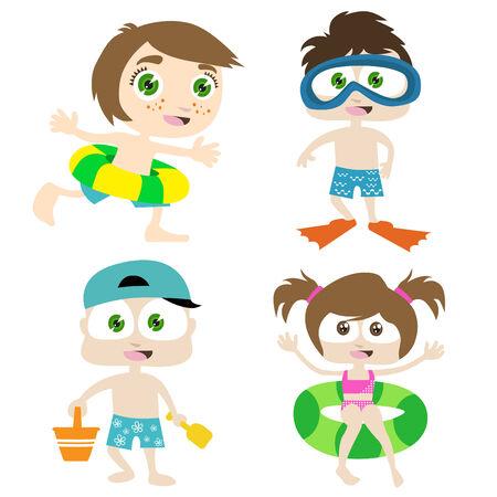 seau d eau: enfants sur une plage  Illustration