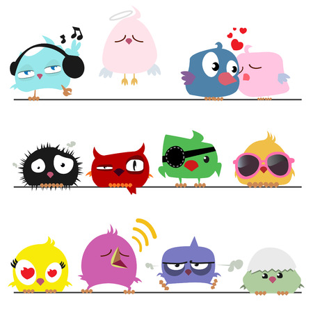 cute birds set  Stock Vector - 8352785