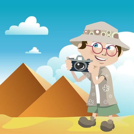 tourist guy (pyramids)  Vector