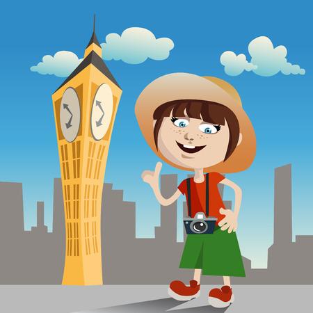 tourist girl (clock tower)  Vector