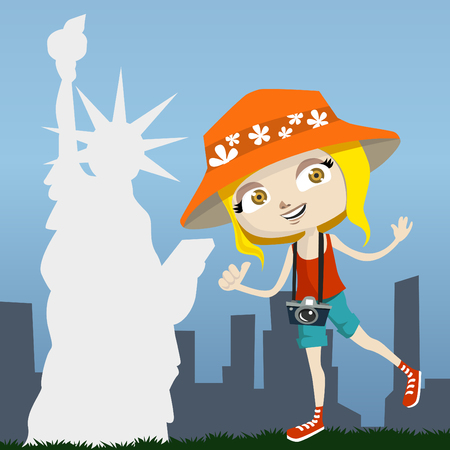 tourist with new york  Vector