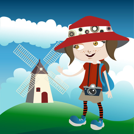 tourist with mill  Stock Vector - 8352788