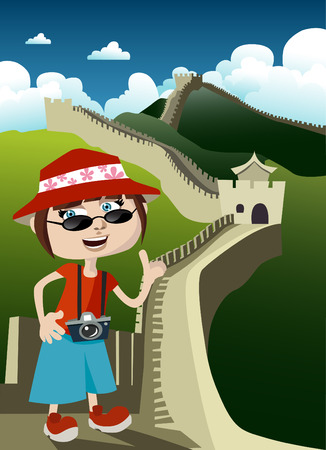 great wall of china: tourist with great wall