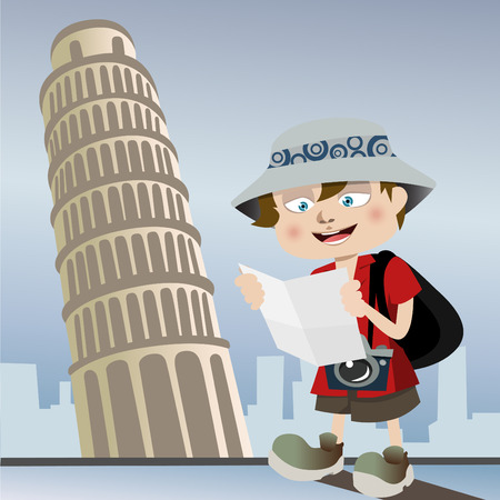 travel cartoon: tourist with pisa tower  Illustration
