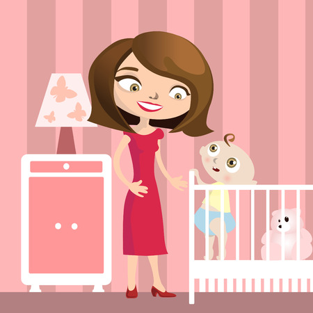 baby illustration: mother with baby illustration