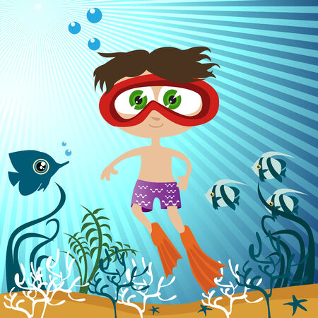 funny travel: boy in the water Illustration