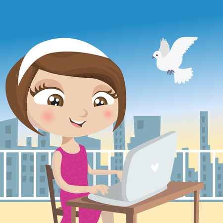 girl with laptop  Stock Vector - 8352847