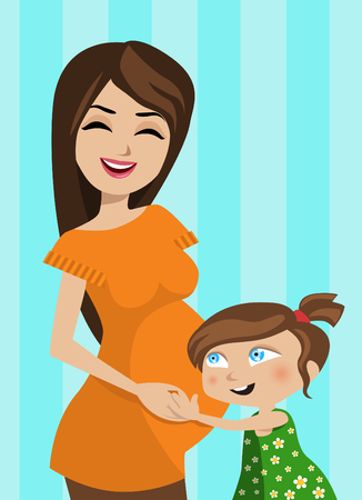 femme dessin: m�re et enfant  Illustration