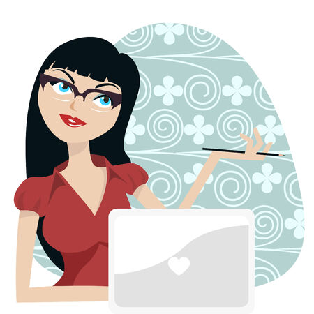 woman laptop: girl with laptop  Illustration
