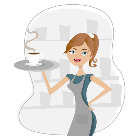 clothing shop: girl serving coffee  Illustration