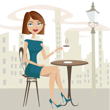 file d attente: jeune fille caf�  Illustration