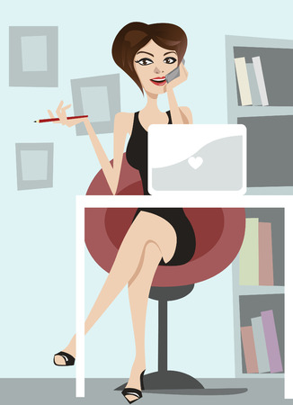 business woman talking on phone  Vector