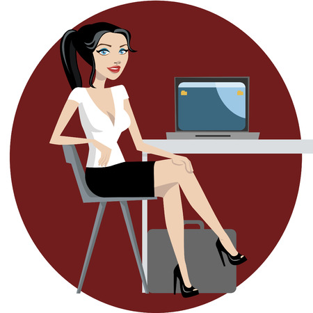 girl laptop: business woman working  Illustration