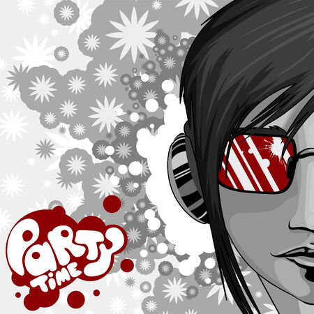 modern illustrations: party graphic with woman portrait