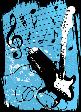 grunge guitar and amplifier vector Stock Vector - 8479824