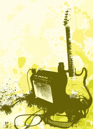 grunge stijl gitaar en amphi vector  Vector Illustratie