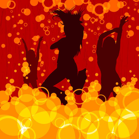 retro style dancing people  Vector