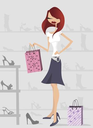 comprando zapatos: mujer de compras  Vectores