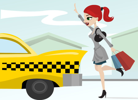 arrive: woman calling a taxi