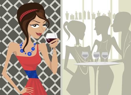 woman drinking wine: girl drinking wine