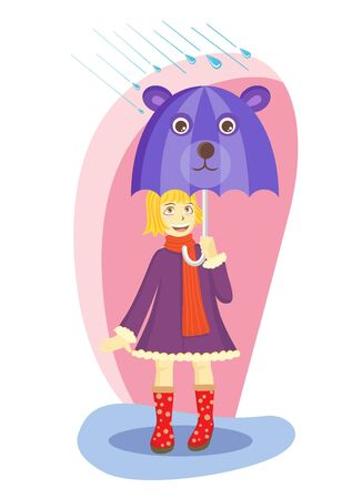 little girl with her bear umbrella  Vector