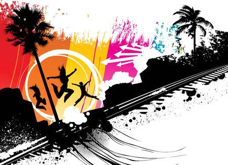 sea side jump  Illustration