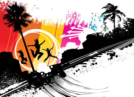 sea side: sea side jump  Illustration